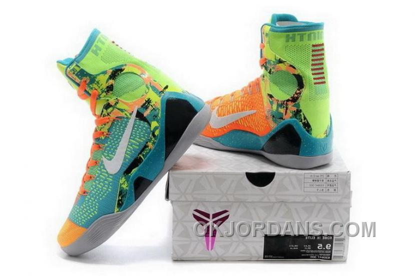 Buy Cheap Nike Kobe 9 High 2015 Jade White Orange Mens Shoes Best W8wJF7G