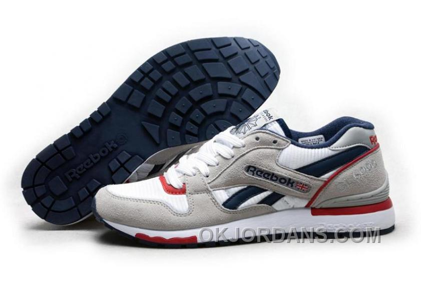 Reebok GL6000 Mens Classic Running Grey Deepblue Red For Sale MWpPK