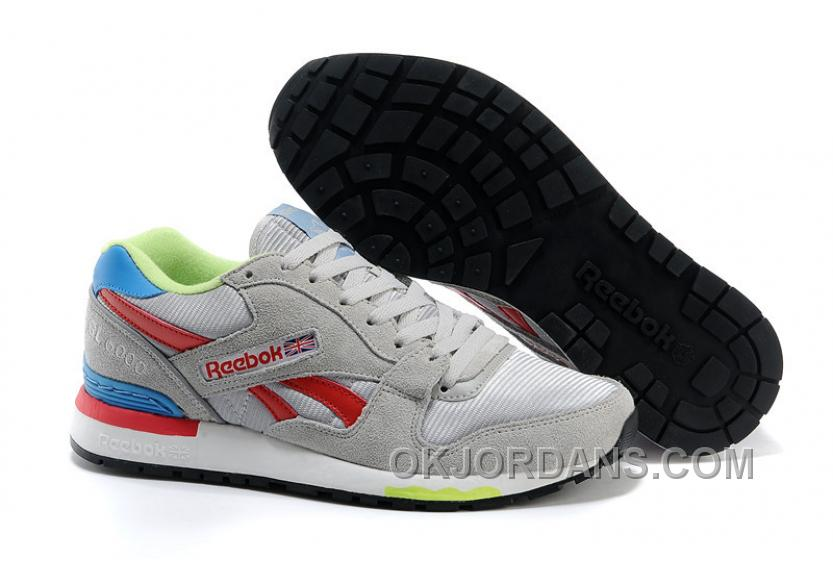 Reebok GL6000 Mens Classic Running Grey Red Green Authentic NF7px