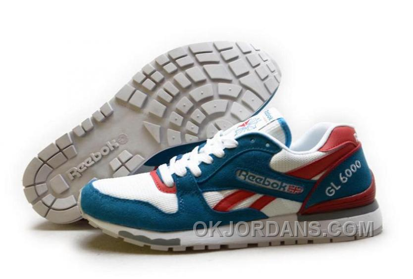 Reebok GL6000 Womens Classic Running White Blue Red For Sale ThCHA