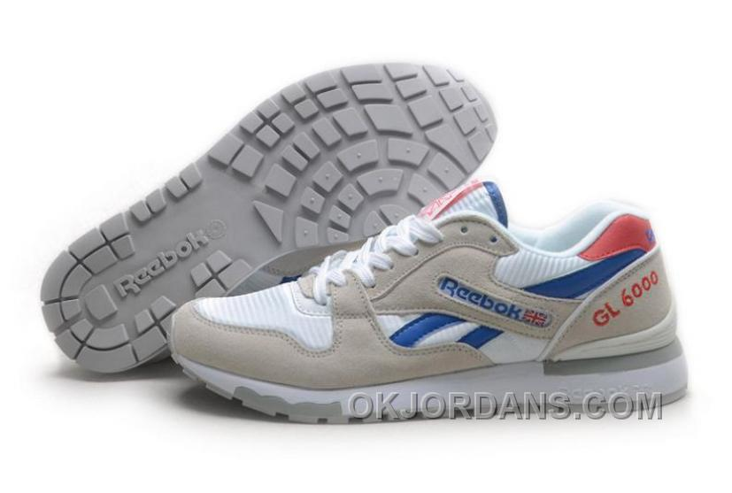 Reebok GL6000 Womens Classic Running White Grey Blue Red Authentic 358mp