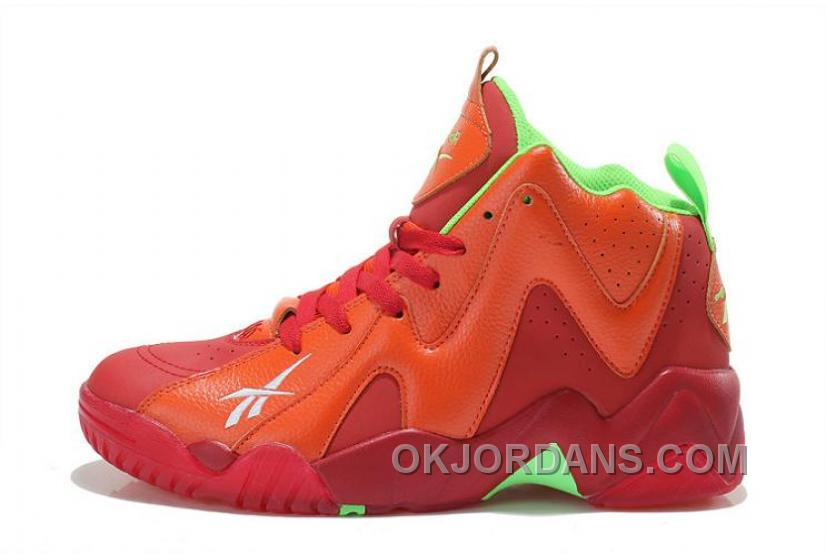 Reebok Kamikaze II Mid Mens Fashion Sneaker Basketball Red Green Authentic MkCDF