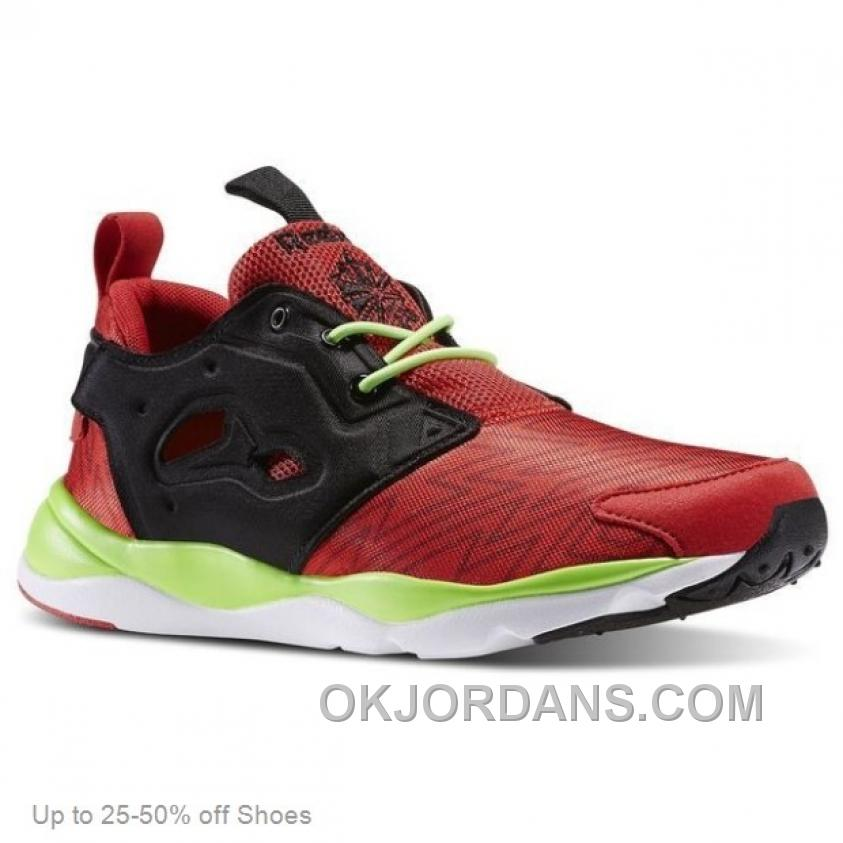 Reebok Men Furylite Casual Shoes Red Rush Black Solar Green Christmas Deals RyPji