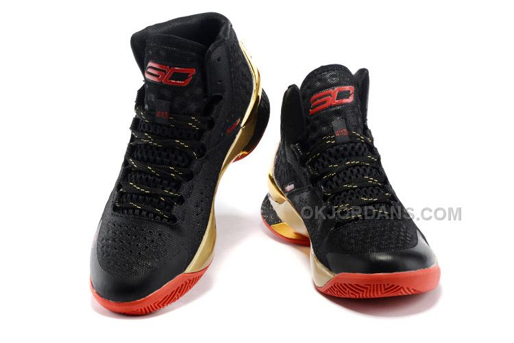 Under Armour UA Curry One Black Gold Red Shoes For Sale