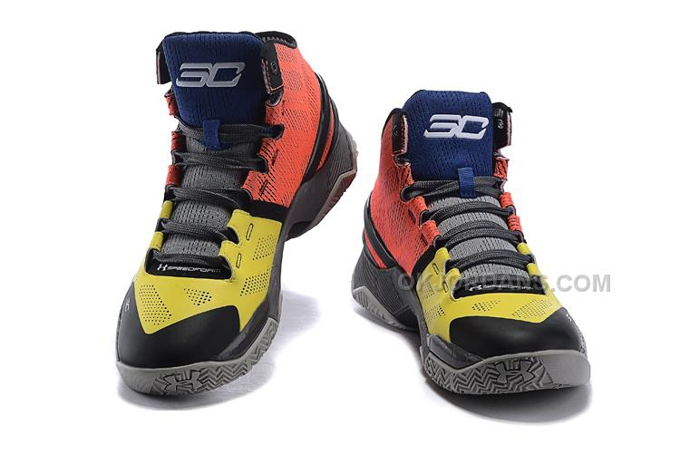"""882f9f1908a4 Under Armour Curry 2 """"I can do all things"""" Black Yellow Red Shoes For Sale"""